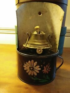 Antique Tin Tole Painted Oil Lamp With Attached Wall Mount