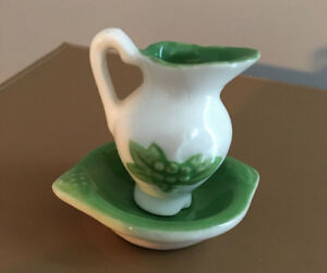 Vintage Mini Pitcher And Wash Basin Green White Over 50 Years Old