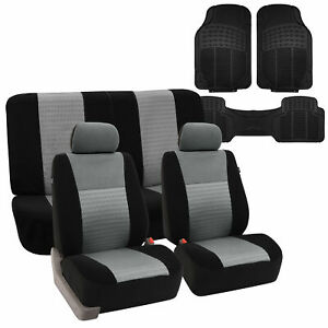 Full Interior Set Gray Seat Covers For Auto W Black Rubber Floor Mats