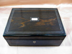 Coromandel Wood Brass Mother Of Pearl Sewing Box W Accessories