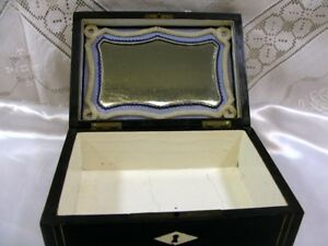 Antique 19thc Wood Brass Inlaid Glove Or Sewing Box