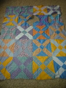 Vintage 1930 S Era Quilt Top Piece Hand Pieced Missing Pieces