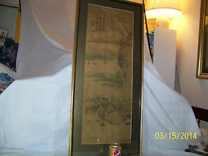 Antique Old Chinese Qing Dy Original Panel Painting On Silk Paper Signed Framed