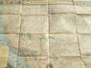 Vintage Southwestern United States Map Poster National Geographic 26 X 35 Inches