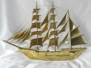Classic Vintage Model Brass Sailing Clipper Ship The Sagres Portugal 1937 20 Vg