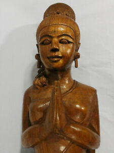 Vintage Hand Carved Solid Wooden Praying 25 Asian Indian Woman Blessing Statue