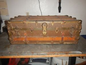 Vintage Early 1900 S Wood And Metal Travel Steam Trunk