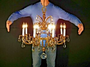 Antique Massive 8 Lite Ornate Bronze Brass French Empire Regency Chandelier