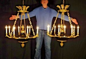 Antique Huge Regency Classic Black Empire 8 Light Eagle Brass Dore Chandelier