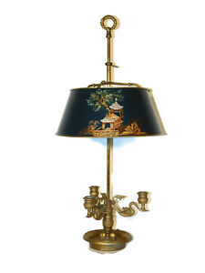 Chapman Lamp Co Chinoiserie Decorated Bouillotte Lamp