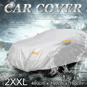 2xxl Silver Tone Universal Car Cover Sun Uv Waterproof Resist Protection