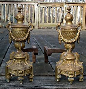 Antique 19th C Bronze Brass French Louise Xvi Urns Garland Fireplace Andirons
