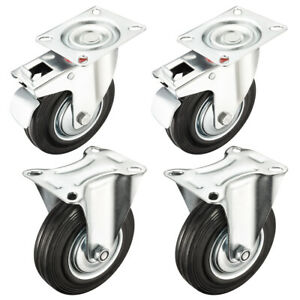 4 Pack 5 inch Caster Wheel 2 Brake Swivel 2 Rigid 220 Lbs Load Capacity Each