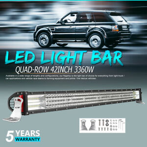 10d Quad Row 42 inch 3360w Osram Led Light Bar Combo Offroad 4wd Truck Atv 12v