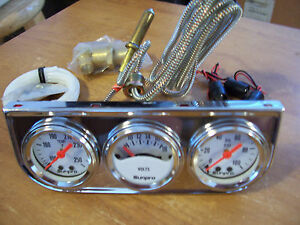 Chrome Triple Gauge Kit Oil Pressure Meter Water Temp