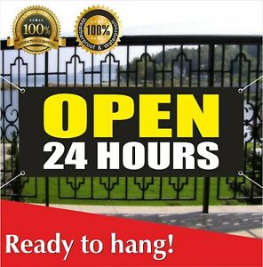 Open 24 Hours Banner Vinyl Mesh Banner Sign Overnight Shop Cafe Around Clock