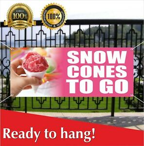 Snow Cones To Go Banner Vinyl Mesh Banner Sign Flag Shaved Ice Balls Snowcone