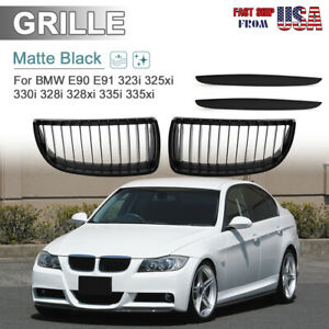 Matte Black Kidney Grill Grilles For Bmw 05 08 E90 E91 325i 328i 335i 330i