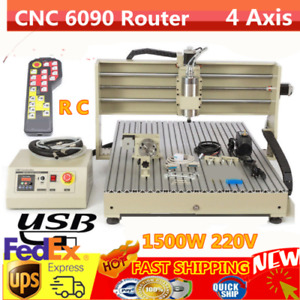 Usb Port 4 Axis Cnc6090 Router Engraver Drilling Milling Machine handwheel 1 5kw