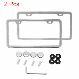 2pcs Stainless Steel License Plate Frame W Screw Caps Thin 2 Hole Silver Tone