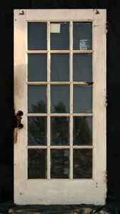 36 X83 Antique Oak Exterior Entry French Door 15 Window Beveled Glass Lite Pane