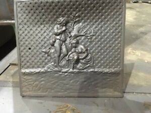 Antique Cast Iron Fireplace Cover Maiden With Lamb Boy With Dog Playing Horn