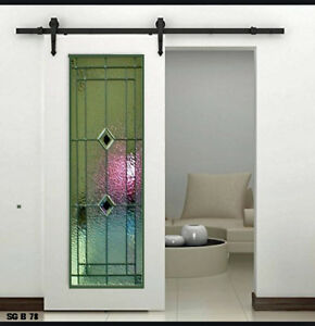 Beautiful Leaded Glass Interior Barn Door Sg B78