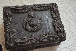Rare Antique Small Gutta Percha Dresser Storage Box Face Medallion C 1860s