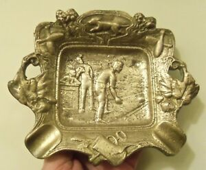 Antique Bronze Bowling Rat Ash Tray Heavy Brass
