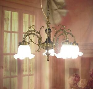 Antique Vintage Chandelier Bronze Empire Down Light French Glass Shades 5 Lt