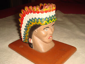 Antique Primitive Folk Art Carved Painted Wood Native American Chief Bust