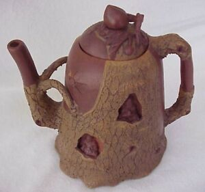 Vintage Teapot Buddha Tree Bark Yixing Zisha Pottery Natural Meditation