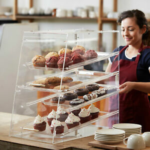 Small Bakery Display Case Box 4 Tray Front Rear Door Donuts Pastry Coffee Shop