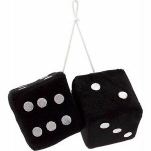 Large Black Fuzzy Hanging Dice Mirror Fur Car Plush Die Fluffy Hang 3 Inch New