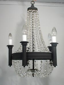 Antique Vintage Black Ring Basket Waterfall 5 Light Chandelier Fixture Crystals