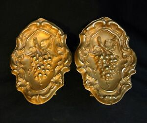19 C Antique Curtain Tie Backs Gilt Brass With Mounting Brackets