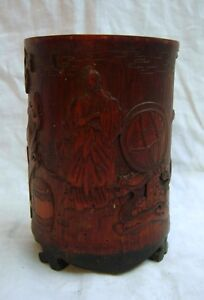 Antique Chinese Brush Pot Bamboo Relief Carvings Original Wax Seal