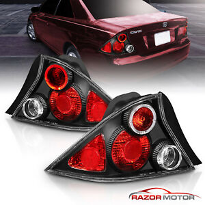 For 2001 2002 2003 Honda Civic 2dr Coupe Altezza Style Black Brake Tail Lights