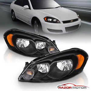 Black Headlamps Headlights 2006 2013 Chevy Impala 06 07 Monte Carlo Left right