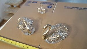 Large Sterling Silver Crystal Swan Handcrafted Bowl Master Salt Pepper Cellar