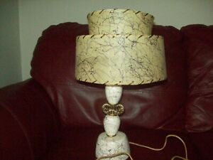 Mid Century Modern Lamp And Fiberglass Double Drum Lamp Shade Squiggle Pattern