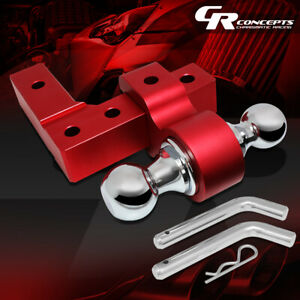 Aluminum Dual Ball Mount 6 Drop Adjustable Trailer Tow Hitch 2 Receiver Red