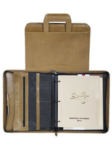 Scully Leather 96z 06 Aloe Italian Leather 3 ring Binder W Handles