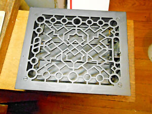 8 X 10 Antique Black Cast Iron Heating Grate Pat In 1894