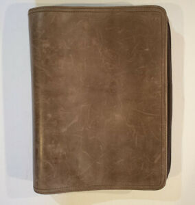 Franklin Covey Classic Binder Planner 7 ring Brown Leather Organizer Full Zip 2
