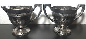 Benedict Silver Plated Hammered Sugar Bowl And Cream Cup Tea Set 14c4 Epnsbmm