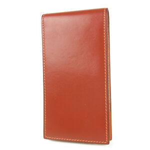 Auth Hermes Box Calf Leather Memo Pad Note Holder Case h F s 1111