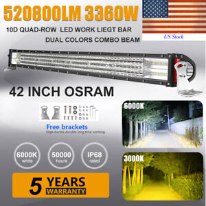 42 inch 3360w Quad row Osram Led Light Bar Combo Offroad 4wd Truck Atv 22 32 52