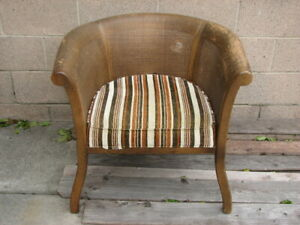 Antique Vintage Furniture Wood Chair Bamboo Back