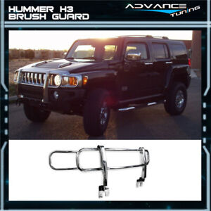 For 06 09 Hummer H3 Front Brush Grill Guard Polished Chrome